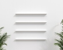 Four Empty White Shelves Above Each Other On White Wall. View Framed With Tropical Green Flower Leaves. 3D Illustration.