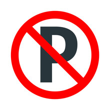 Parking Not Allowed, Red Forbidden Sign With Parking Icon On White Background