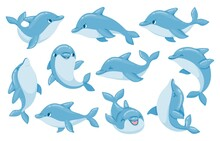 Dolphin Characters. Funny Dolphins Jump And Swim Poses. Oceanarium Show Mascot Underwater Animal. Cartoon Bottlenose Baby Dolphin Vector Set