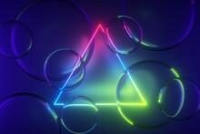3d Render, Abstract Colorful Neon Background With Triangular Frame And Glass Balls. Glowing Geometric Shape And Translucent Bubbles