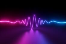 3d Render, Abstract Neon Background With Wavy Impulse Line Glowing In Ultraviolet Spectrum