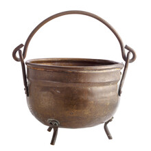 Vintage Copper Cooking Pot With Legs And Handle Isolated On White