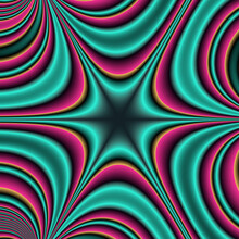 Abstract Green Red Fractal Pattern