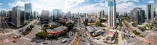 Vista Aérea Da Vila Olímpia, Bem Acima Do Cruzamento Da Av. Juscelino Kubistchek Com A Av. Faria Lima, São Paulo, Brasil.