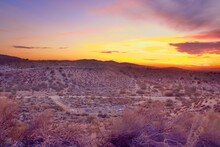 Beautiful California Desert Landscape Taken During The Evening Golden Hour