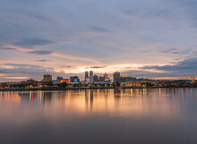 Landscape Of Peoria Illinois Downtown Riverfront At Sunset