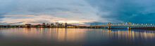 Panorama Of Peoria Illinois Downtown Riverfront And Bridges At Sunset
