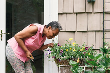 Senior Woman Bending Down With Pruning Sheers To Smell Flower Bed