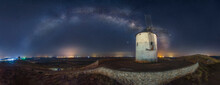 Milky Way Arched Over Old Windmill Nightscape With Stars