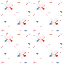 Pattern For A Holiday Of Love With A Pair Of Birds And Hearts