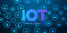 The Concept Of Connecting Devices Via Wireless IOT Communication. Icons Of Various Devices On A Blue Background With Neon Text. Internet Of Things Automation System With Digital Icon Concept. Vector