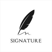 Quill Feather Pen, Author Logo Minimalist Signature Handwriting Design Template, Vector Illustration.