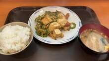 "OKINAWA, JAPAN : Okinawa Traditional Food ""Goya Chanpuru (Stir Fried Bitter Gourd Or Melon, Egg, Pork And Tofu)""."