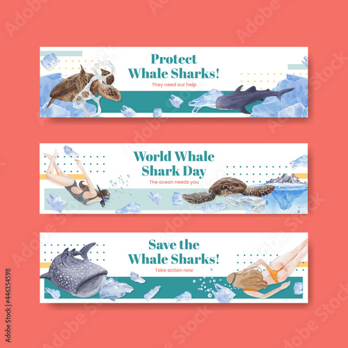 Fotografie, Obraz Banner template with international whale shark day concept,watercolor style