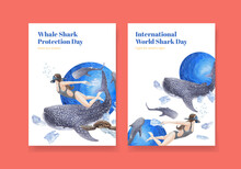 Poster Template With International Whale Shark Day Concept,watercolor Style