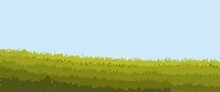 Rice Field Or Grass Field With Blue Sky Landscape Vector Illustration. Rice Field Vector Illustration For Background, Desktop Background, Raw Editable Background, Backdrop Design.