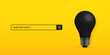 Realistic black light bulb isolated on yellow background, searching idea concept