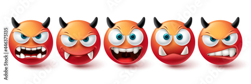 Smiley evil face vector set. Smileys emoji bad, monster, demon and scary red icon collection isolated in white background for graphic elements design. Vector illustration