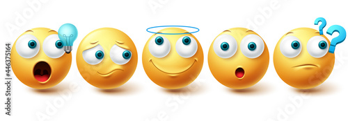 Smiley emoji vector set. Smileys yellow emoticon happy, sad, angel and thinking face collection isolated in white background for graphic design elements. Vector illustration