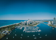 An Aerial Panorama View Of Surfers Paradise Including The Southport Yacht Club, Sundale Bridge And Pacific Ocean