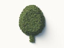 樹木で構成された樹木のシンボルマーク。3Dレンダリング。