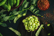 Broad bean. Fresh broad beans with spices. Green beans.
