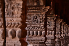 Row Of Carved Wooden Pillars In Bhaktapur, Nepal