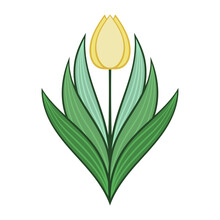 Geometric Tulip In A Modern Style. Icon For The Project. Spring Flower. Vector Illustration