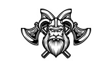 Viking With Double Axe Isolated Vector