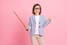 Portrait Of Attractive Cheerful Preteen Girl Showing Stick Copy Space Lecture Isolated Over Pink Pastel Color Background