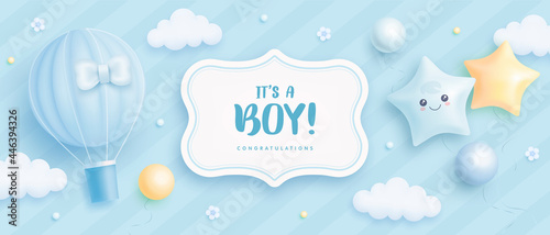 Fotografie, Obraz Baby shower horizontal banner with cartoon hot air balloon, helium balloons and flowers on blue background