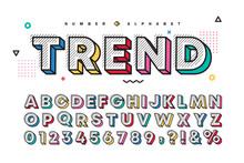 3D Multicolor Memphis Alphabet  Number Set. Vector Decorative Pattern Typography. Modern Stylish Font Collection For Headline, Poster, Social Web, Brochure, Scrapbook, Graphic Card, Etc.