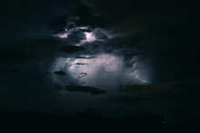 Storm Sky With Lightning Among The Dark Clouds