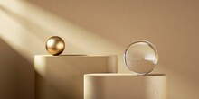 3d Render, Abstract Monochrome Beige Background With Sunlight Rays. Modern Minimal Showcase Scene With Two Podiums, Golden Sphere And Glass Ball