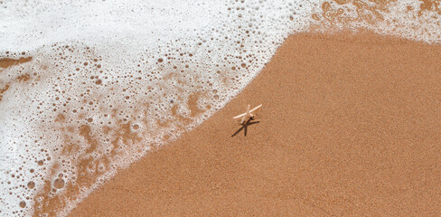 Beautiful white starfish standing on sand and waiting for the waves at the seashore. Summer vacation and relaxation concept. Marine banner with copy space.