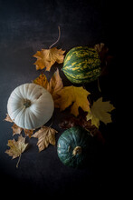 Various Squashes And Autumnal Leaves On Table
