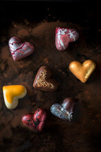 Colorful Chocolate Sweets In Shape Of Hearts