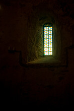 Stained Glass Window In A Medieval Castle