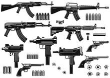Set Of Illustrations Of Weapon. Assault Rifle, Uzi, Revolvers, Handgun, Bullets, Bullet Holes. Design Element For Logo, Label, Sign, Poster, Card, Banner. Vector Illustration
