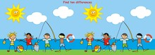 Find Ten Differences, Board Game For Children, Little Boy And Girl On Beach, Vector Illustration