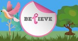 Composition of pink ribbon logo and breast cancer text on image of trees and bird