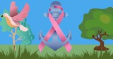 Composition of pink ribbon anchor logo and breast cancer text on image of trees and bird