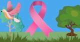 Composition of pink ribbon anchor logo on image of trees and bird