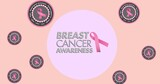Composition of pink ribbon logo and breast cancer text on pink background