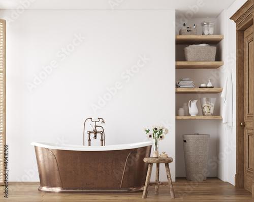 Fototapeta White cozy bathroom interior, farmhouse style, 3d render