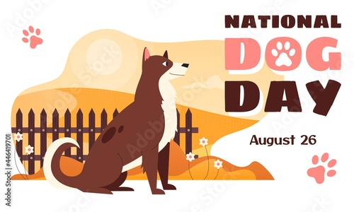 Photo National Dog Day horizontal vector banner template with a cheerful dog sitting near a hedge