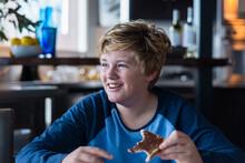 Tween Boy Enjoying Toast For Breakfast