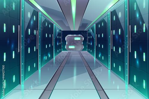 Fotografie, Obraz Vector corridor in spaceship, server center, datacenter