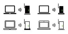 Wi-Fi, ルーター, 無線LAN, インターネットのベクターアイコンイラスト素材セット