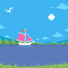 Colorful Simple Flat Pixel Art Illustration Of Cartoon Summer Sunny Landscape Of A Floating White Sailboat With Scarlet Sails And A Seagull Flying In The Sky